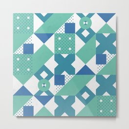 Geometric Acqua Dots Metal Print