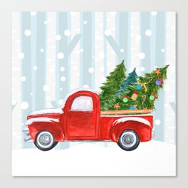Christmas Red PickUp Truck on a Snowy Road Canvas Print
