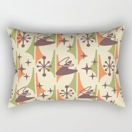 Mid Century Modern Cosmic Boomerang 726 Brown Orange and Green Rectangular Pillow
