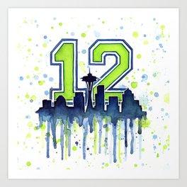 Seattle 12th Man Art Skyline Watercolor Art Print