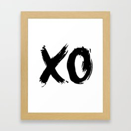 XO Hugs and Kisses black and white xoxo gift for her girlfriend bedroom art and home room wall decor Framed Art Print