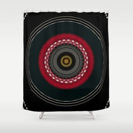 Modern Black White and Red Mandala Shower Curtain