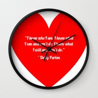 dolly parton Wall Clocks featuring Dolly Parton by Geraldine Mattis