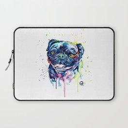 Pug Watercolor Pet Portrait Painting Laptop Sleeve