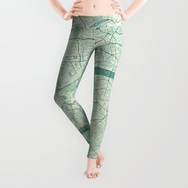 London Map Blue Vintage Leggings