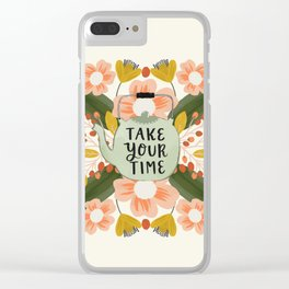 Teapot and Flowers - Take Your Time Clear iPhone Case