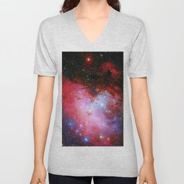 The Eagle Nebula Red Blue Galaxy Unisex V-Neck