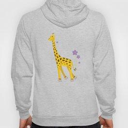 Yellow Funny Roller Skating Giraffe Hoody