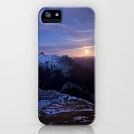Moon rising above Swiss Alps iPhone Case