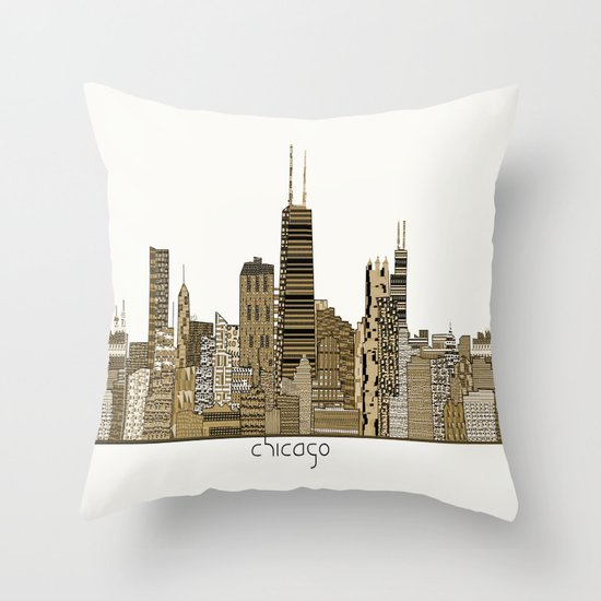 chicago vintage Throw Pillow