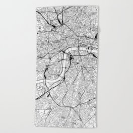 London White Map Beach Towel