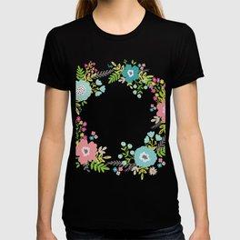 Floral fresh spring wreath T-shirt