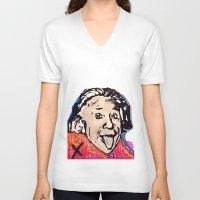 einstein V-neck T-shirts featuring Einstein by Paola Gonzalez