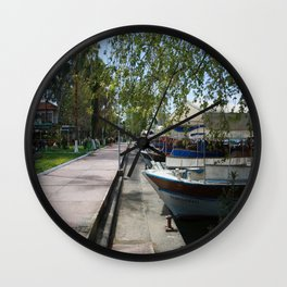Tour Boats Lining Dalyan River Wall Clock