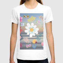 Random Floral Pattern 24 Calm Ocean Gradient Background Colors T-shirt