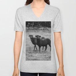 Black and white goats Unisex V-Neck