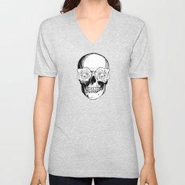 Skull and Roses | Skull and Flowers | Vintage Skull | Black and White | Unisex V-Neck