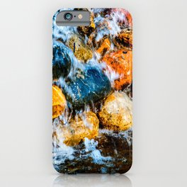 Water Runs Over Colorful Wet Stones iPhone Case