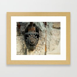 Front rusty iron engine gear meshing teeth city wall Framed Art Print
