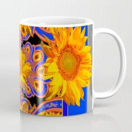 Golden Sunflowers Ornate Blue Patterns Coffee Mug