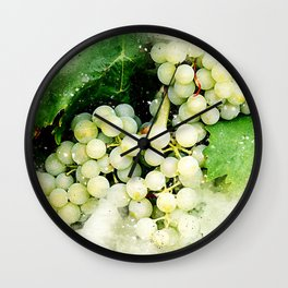 Green Grapes Watercolor Wall Clock