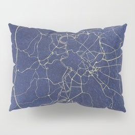 Rome Blue and Gold Street Map Pillow Sham