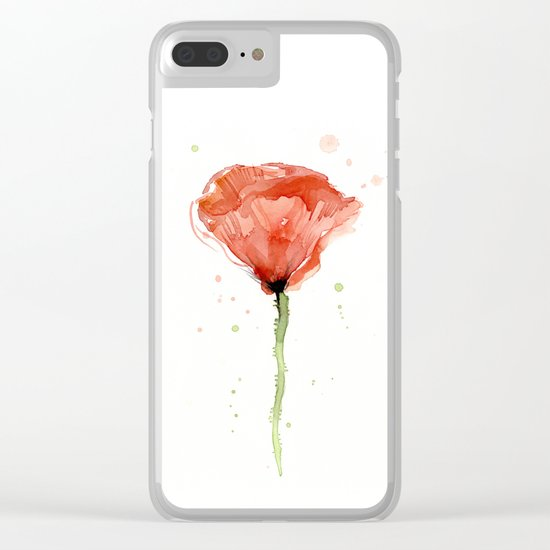 Poppy Watercolor Abstract Red Flower Clear iPhone Case