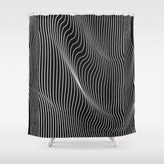 Minimal curves black Shower Curtain