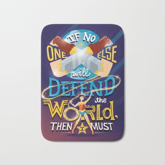 Defend your world v2 Bath Mat