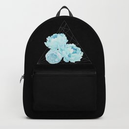 Blue Peonies (Black) Backpack