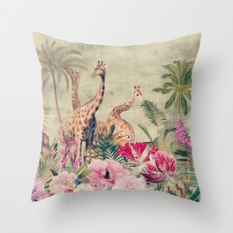 Vintage & Shabby Chic - Tropical Animals And Flower Garden Throw Pillow