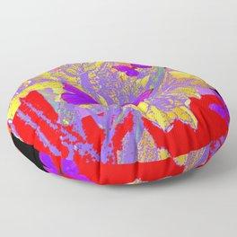 CERISE PURPLE BUTTERFLIES RED & BLACK FLORALS Floor Pillow