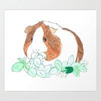 guinea pig Art Prints featuring Guinea Pig Clover by Elena O'Neill