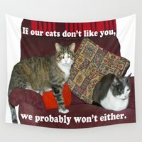 meme Wall Tapestries featuring Cat Meme by Frankie Cat