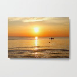 Yellow Sunset Ocean Metal Print