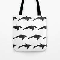 orca Tote Bags featuring Orca by Oliver Peace