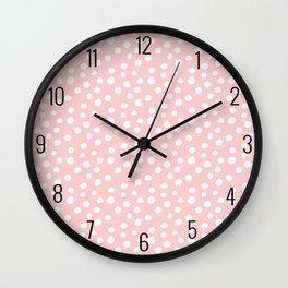 Blush Pink & White Polka Dots Wall Clock