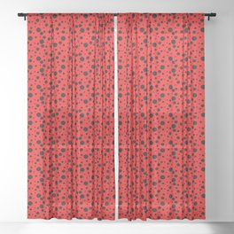 Ladybug style - scarlet red background and black polka dots Sheer Curtain