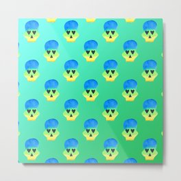 Colorful Skull with Heart Eyes Pattern over Blue Green Gradient Metal Print