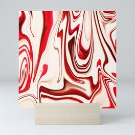 White and Red Liquid Marble Swirling Pattern Texture Artwork #7 Mini Art Print