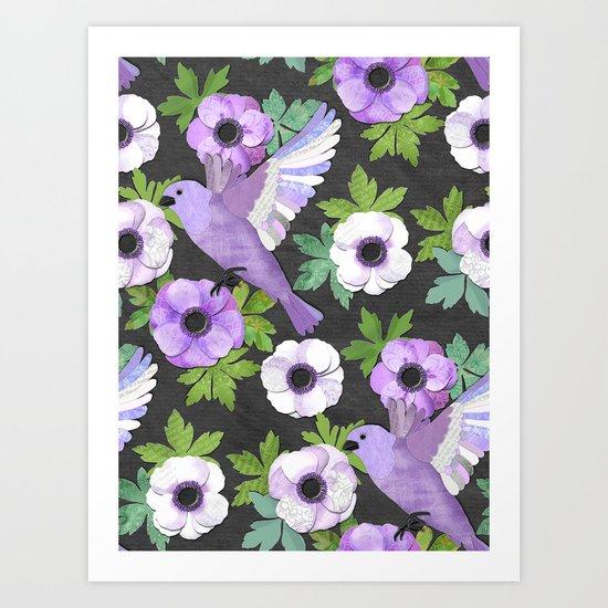 Purple Paper Anemone Collage Art Print