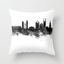 Riyadh skyline in black watercolour  Throw Pillow