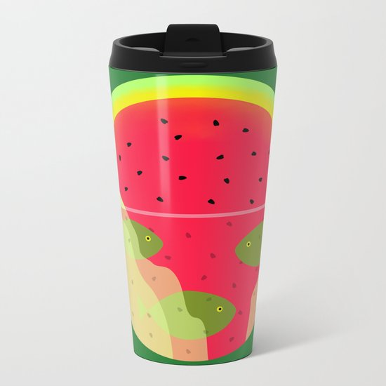 Watermelon Underwater Scene Metal Travel Mug