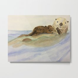 Mama and baby otters Metal Print