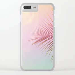 Pink Palm Leaf Poster Clear iPhone Case