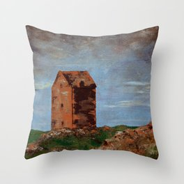Building with Pink Rock Throw Pillow