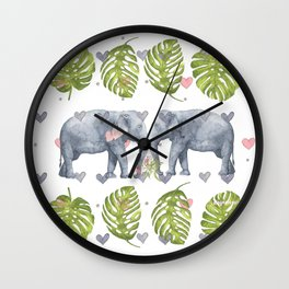 Soulmates - Elephant Ilustration - Bagaceous Wall Clock