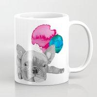 french bulldog Mugs featuring French Bulldog  by Olivia James