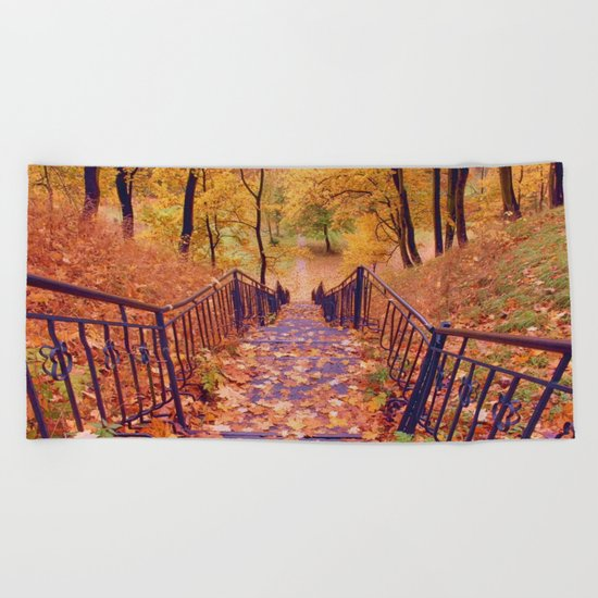 Stairs in the Fall Beach Towel