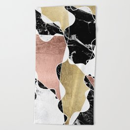 Modern white black marble rose gold foil color block handdrawn geometric lines Beach Towel